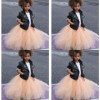 knöchellänge kleidet formals für mädchen großhandel-Günstige Tutu Tüll Röcke Kinder Formelle Kleidung Knöchel Länge Blumenmädchen Kleid Billig Nur Verkauf Röcke Bust Röcke Kommunion Kleider