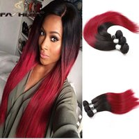 Wholesale Long Dyed Red Hair - nice bright red ombre peruvian brazilian virgin human hair weave bundles ombre burgundy red black Brazilian straight long hair extension