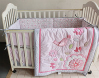 Wholesale Pink Crib Skirts - American Cotton Nursery Bedding Set 4 PCS Girls Crib Set Happy Birds and Flowers Applique embroidery Inc Comforter,Bumer, Coverlet and Skirt