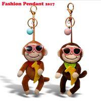 Wholesale Banana Key Chains - Cute Plush Stuffed Monkey Keychain Animal monkey wear glasses Key Chain Car Key Ring Key Hold banana Women Bag Accessories Bag Pendant
