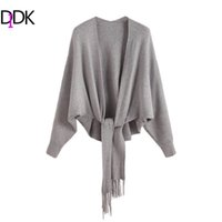 Wholesale Womens Long Coats Grey - Wholesale- DIDK Womens Cardigan Long Sleeve Womens Sweaters Fashion 2016 Autumn Coat Grey Batwing Sleeve Fringe Trim Cardigan