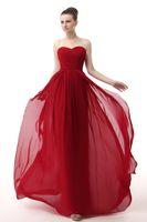 драпированные вечерние платья оптовых-Шифон милая элегантные вечерние платья красный дешевые вечерние платья плиссированные драпированные платья партии вечерняя одежда длинные