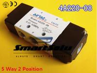 Wholesale Gas Solenoid Valve - 5pcs G1 4 AirTAC Air Valve 4A220-08 5 Way Pneumatic Air Control Solenoid Valve Inlet Outlet 1 4