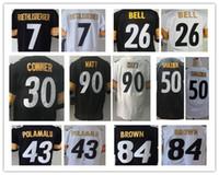 9c88b688f Men 26 Le Veon Bell Troy Polamalu 90 TJ Watt 7 Ben Roethlisberger 30 James  Conner 84 Antonio Brown Ryan Shazier jerseys
