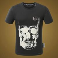 Wholesale Cool Mens Shirt 3xl - SS18 New Fashion Brand Mens Short Fit Slim Casual T-SHIRTS Print SKULLS Rhinestone Desinger Cool MENS Cotton T-shirts P17026-29