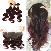 Wholesale Wavy Ombre Weave - #1B 99J Ombre 13x4 Body Wave Lace Frontal Closure With Bundles 9A Burgundy Ombre Wavy Virgin Human Hair Weaves And Full Lace Frontals
