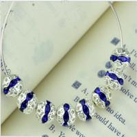 ingrosso perline in argento-Nuovo design 8mm perline sfuse color zaffiro affascinanti cristalli rondelle sfere placcate argento strass distanziatori grandi per matrimoni