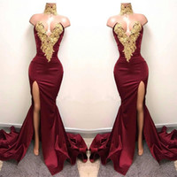 Wholesale Satin Red Floor Length Gown - Sexy Burgundy Mermaid High Split Prom Dresses 2017 Gold Lace Appliques High Neck Prom Dress African Party Gowns BA5998