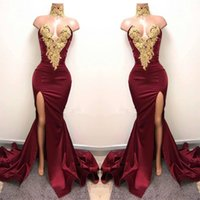 black lace prom dresses - Sexy Burgundy Mermaid High Split Prom Dresses Gold Lace Appliques High Neck Prom Dress African Party Gowns BA5998