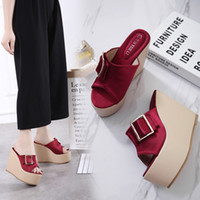 Wholesale Red Platform Wedge Sandals - New platform wedge slipper sandals sexy pink wine red satin high heels shoes Size 34 to 39