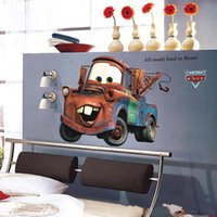 Wholesale Wholesale Baby Asia - Cartoon Cars Mater Giant Wall Stickers for Boys Kids Baby Rooms Movie Decorative Wall Decals Comic Home Decoration Wall Art