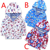 Wholesale New Coats Design For Boys - New Children Spring Autumn Coats Hooded Kids Floral Butterfly Design Outwear Hoodies Boys Girls Wind Outer Clothes Outwear Coats For 2-6T