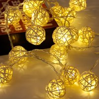FENGRISE 20 Rattan Ball Led String Fairy Christmas Tree Ornaments Xmas Decoration Warm White LED Lights Home Garden