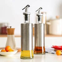 Wholesale Stainless Steel Shaker Container - 1 Piece Stainless Steel Olive Oil Bottles Seasoning Oil Container Storage Bottle Sauce Vinegar Wine Glass Bottle Kitchenware