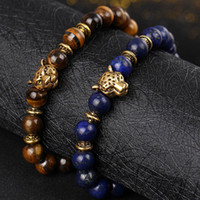 Wholesale 18k Gold Jewelry India Wholesale - beaded bracelets set wholesale man men style charms india boys jewelry lion leopard buddha beads for men china male lions leopard Buddha