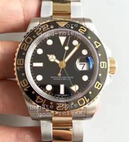 Wholesale 18k Men Gold Plated Watches - Luxury Noob Factory V7 Automatic Eta 2836 Watch Mens Real 18k Gold Plating Wrapped Gmt Watches Men 116713LN Dive Sport 116713 Wristwatches