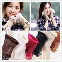 Wholesale women winter half glove - 12 Color Winter Women Warm Beautiful Rabbit Fur Gloves Lady's Winter Fingerless Mmulti-colored Half-fingers Glove R049