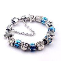 Wholesale Hj Diy - DIY hot sell women ladies beaded chians bracelets strands big holes New Arrival charm bangle silver bracelet-HJ-1622010