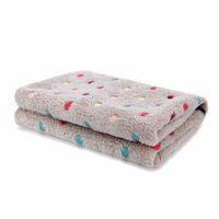 Wholesale Stripe Coral Fleece Blanket - stripe Free Shipping Super Soft Pet Coral Fleece Blanket Dot Stripe For Puppy and Cat Bath Towel S M Size Pet Supplies