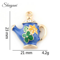 Wholesale Teapot Charm Gold - Fashion Colorful Drop Oil Enamel Teapot Charms DIY Handmade Jewelry Findings For DIY Jewelry Making 23*21mm