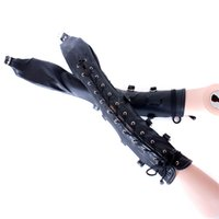Wholesale Adult Long Cuff - New Wrist Cuffs Bondage Restraints Black PU Leather Back Bondage Hand Cuffs Arm Binder Long Glove Sex Prdoucts For Adults Games