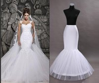 Wholesale Bridal Crinoline Color - Cheap In Stock One Hoop Flounced Mermaid Petticoats Bridal Crinoline For Mermaid Wedding Prom Dresses Wedding Accessories White Color