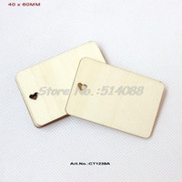 Wholesale Unfinished Wood Hearts - (60pcs lot) 40mm x 60mm Heart Cutout Unfinished Plain Wood Name Cards Greeting Cards Supplies Rustic Save Date Label -CT1238A