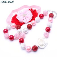Pink + Red Color Design NecklaceBracelet Headband 3PCS Conjunto De Jóias Rose Flower Toddlers Girls Bubblegum Baby Kids Chunky Necklace Jewelry Set