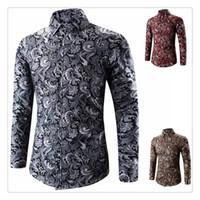 Wholesale Slim Fit Designer Shirts Sale - Designer Shirts Men Autumn&winter Hot Sale Fashion Retro Printing Men's Casual Slim Fit Long Sleeves Shirts US Size:XS-3XL