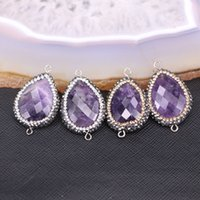 Wholesale Faceted Amethyst Beads - 10pcs Faceted amethyst connector beads, pave stone beads, nature amethyst quartz charms