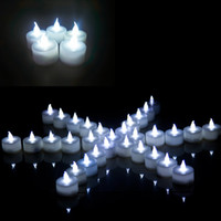 ingrosso luci a tè bianco a batteria-luci bianche luminose del tè Luci di cristallo principali funzionate a pile Flicker nozze senza fiamma festa di compleanno Decorazione di Natale