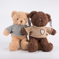 XS Brown 38cm Sweater Bear Cuddly Brinquedos Gift Aniversário Bear Badge Sweater Plush Teddy Bear Doll Wholesale