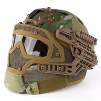 capacete de airsoft abs venda por atacado-RÁPIDO Capacete Tático BJ PJ MH Máscara ABS com Óculos de Proteção para Airsoft Paintball WarGame Motocicleta Ciclismo Caça