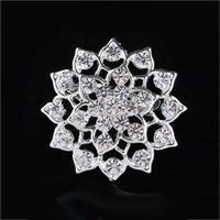 Wholesale Wholesale American Indian Products - New products Charming Jewelry Bridal Bouquet Flower Pattern Pin Rhinestone Inlaid Crystal Women Wedding Brooches small size