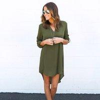 Wholesale Army Green Chiffon Shirt - 2017 Women Summer Chiffon Dress Long Sleeve V neck Loose Mini Casual Split Ladies Sexy Shirt Dresses Plus Size S-3XL Vestidos