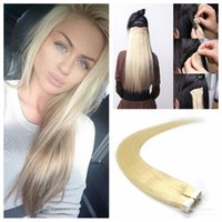Light Blonde Straight Adhesive Skin Wefts Tape em extensões peruanas de cabelo humano PU Tape Hair 40pcs set 100G 14 - 24 inches