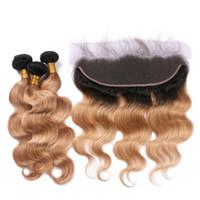 27 cheveux bruns bruns achat en gros de-Dark Roots Honey Blonde Ombre Brésilienne Vierge Trames De Cheveux Humains 3Bundles Avec Body Wave 1B / 27 Brun Clair Ombre Pleine Dentelle Frontale 13x4