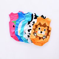 Wholesale Cheap Girls Clothing Sets - DHL free 50pcs Cheap Baby Strawberry Rompers Infant Cow Jumpsuit Overall Short Sleeve Body Suit Baby Clothing Set Summer Cotton suit