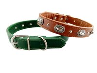 Wholesale High Collar Shop - Joyo pet shop Spot wholesale optional two color high quality PU matching alloy buckle inlaid with nails and metal accessories pet collar