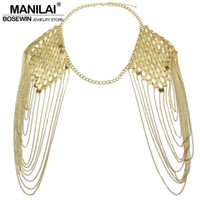 Wholesale Plate Shoulder - Wholesale- MANILAI Bohemian Punk Body Chain Necklaces Collar Shoulder Chain Long Necklaces & Pendants Women Sexy Statement Body Jewelry