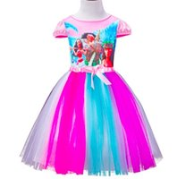 Wholesale Toddlers Rainbow Dress - Children Girls Little Horse Ocean Romance Moana Princess Dress Kids Party Dresses Summer Toddler Girl Clothing Children Lace Rainbow Costume