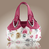Wholesale Cotton Fabric Rose Pattern - New fashion casual Rose pattern women beautiful PU leather handbags US and European young ladies leopard print party totes