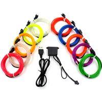 Wholesale Disco Light Usb - 3M 5V USB Neon TV Lights Dance Party Car Decor Light Neon LED lamp Flexible EL Wire Rope Tube Waterproof LED Strip DHL Ship