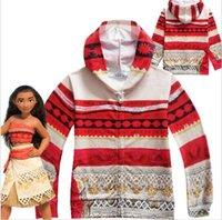 Wholesale Girls Party Coat - Boys Girls Moana Maui Cosplay Hooded Sweatshirt Halloween Hoodies Party Coat Long Sleeve Zipper Hoodies Kids Tops KKA2160