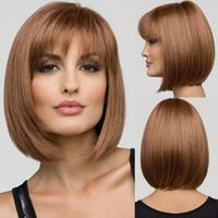Wholesale Medium Length Straight Hair Wigs - Soft Natural Medium Straight Bob Human Hair Full Lace Wigs   Lace front wig