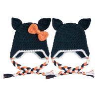 Wholesale Black Baby Twins - Adorable Black Cat Earflap Hat,Handmade Crochet Baby Boy Girl Twins Animal Hat,Infant Fun Halloween Hat,Toddler Photo Prop