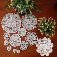 Wholesale crochet design mats - Wholesale- Super Design 24Pcs 100% Cotton HandMade Crochet Doilies Cup Mat Pad Coaster 12 Vintage Crochet Motifs 3.5-24cm White Beige HD110