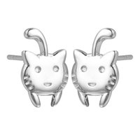 Wholesale Vintage Brass Cat - 5 pairs lot Christmas Gifts Cute Cat Stud Earrings Baby Love Animal 925 Sterling Silver Jewelry Women Vintage Accessories