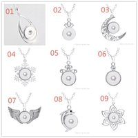 Wholesale Chain Drop Necklace - NOOSA Water Drop Pendant Charm Necklace 18mm Noosa Chunks Ginger Snap Button Necklaces For Women Snap Jewelry NAB0038
