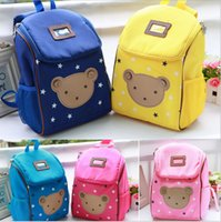 Wholesale Toddler Girl Cartoon Bags - Wholesale- 2016 cute bear children toddler shoulders school bags baby backpack for boys and girls Cartoon Bags